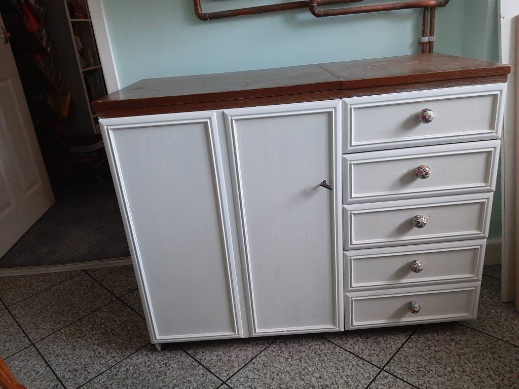 upcycled sewing cabinet