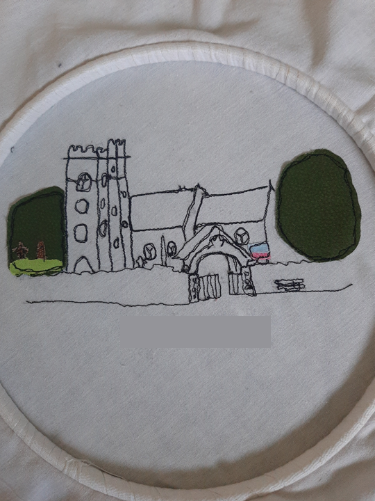 machine embroidery of St Mary's Church, Whitchurch